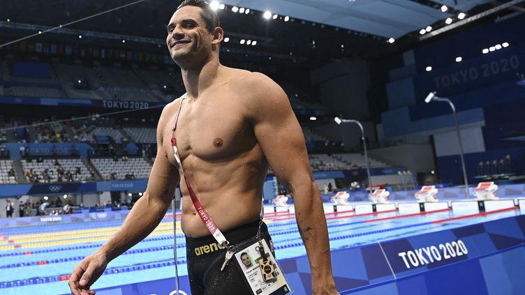 Florent Manaudou avant le 50 mètres nage libre des Jeux olympiques de Tokyo, le 1er août 2021. (KEMPINAIRE STEPHANE / KMSP / AFP)