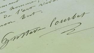 La signature de Gustave Courbet posée au bas des quelques 500 lettres écrites par le peintre.  (France 3 / Culturebox)
