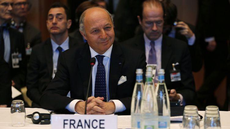Laurent Fabiusà 0 l'ouverture de la conférence de paix dite de Genève II, à Montreux (Suisse), le 22 janvier2014. (JAMAL SAIDI / REUTERS )