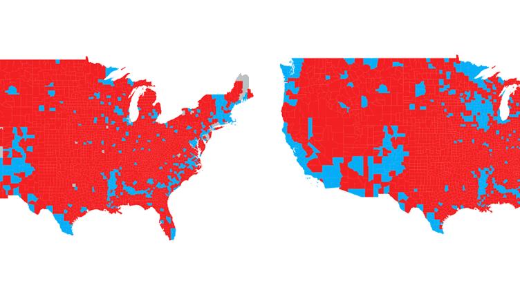 Cartes du résultat de l'élection présidentielle américaine en 2012 et en 2016, comté par comté. (NICOLAS ENAULT)