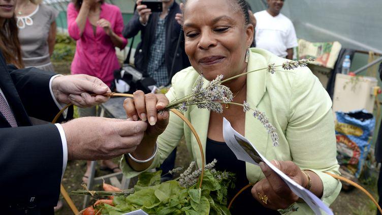 La ministre de la Justice, Christiane Taubira, le 6 août 2013, lors de la visite d'une serre biologique faisant office de chantier d'insertion pour mineurs, à Lagny-sur-Marne, en Seine-et-Marne. (BERTRAND GUAY / AFP)