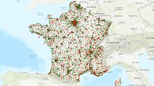 Carte de France métropolitaine des prix moyens du gazole dans les stations services. (NICOLAS ENAULT / CARTO)