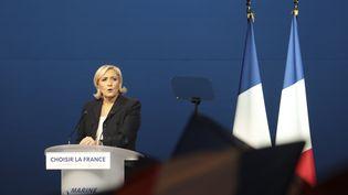 Marine le Pen en meeting à Villepinte (Seine-Saint-Denis), lundi 1er mai 2017. (JOEL SAGET / AFP)