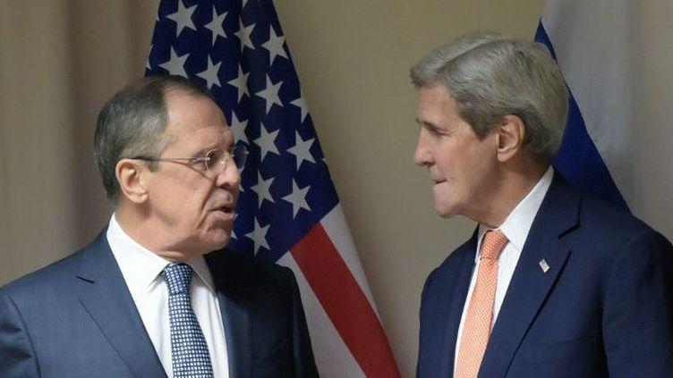 Les ministres russe et américain des Affaires étrangères, Sergueï Lavrov et Joh Kerry. Les deux vrais parrains de la conférence de Genève sur la Syrie (ici à Zurich le 20 janvier 2016). (EDUARD PESOV / RIA NOVOSTI)