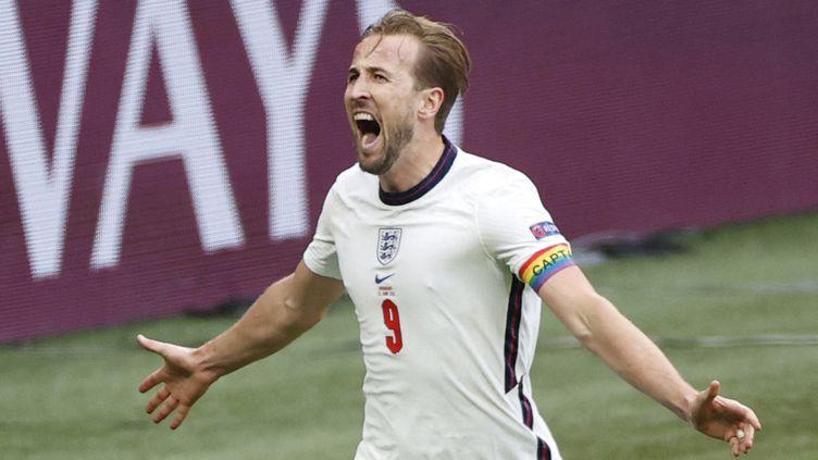 Harry Kane exulte après son but face à l'Allemagne, le 29 juin 2021. (JOHN SIBLEY / AFP)