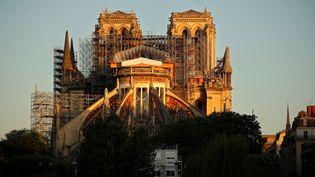Le chantier de la Cathédrale Notre-Dame, le 14 avril 2020, à Paris. (THOMAS COEX / AFP)