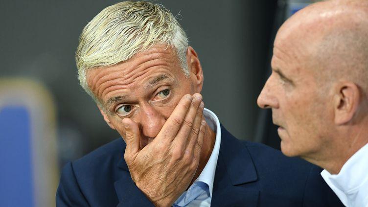 Didier Deschamps, sélectionneur de l'équipe de France, lors du match nul face au Luxembourg (0-0) à Toulouse (Haute-Garonne), le 3 septembre 2017. (FRANCK FIFE / AFP)