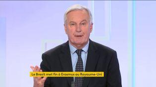 Michel Barnier, négociateur en chef de l'Union européenne pour les relations avec le Royaume-Uni sur le Brexit, était l'invité du 8h30 franceinfo, mardi 29 décembre 2020. (FRANCEINFO)