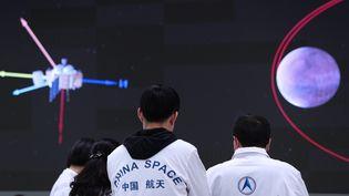 Les Chinois réussissent à poserleurrobot Zhurong surMars, le 15 mai 2021. (JIN LIWANG / XINHUA / MAXPPP)