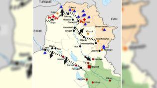 Carte de la situation en Irak au 11 août 2014. (BASTIEN HUGUES / FRANCETV INFO)