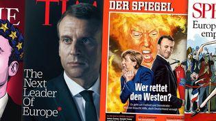 Emmanuel Macron à la une de plusieurs magazines étrangers. (FRANCEINFO)