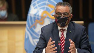 Le chef de l'Organisation mondiale de la santé,Tedros Adhanom Ghebreyesus, au siège de l'OMS à Genève le 5 octobre 2020. (CHRISTOPHER BLACK / WORLD HEALTH ORGANIZATION / AFP)
