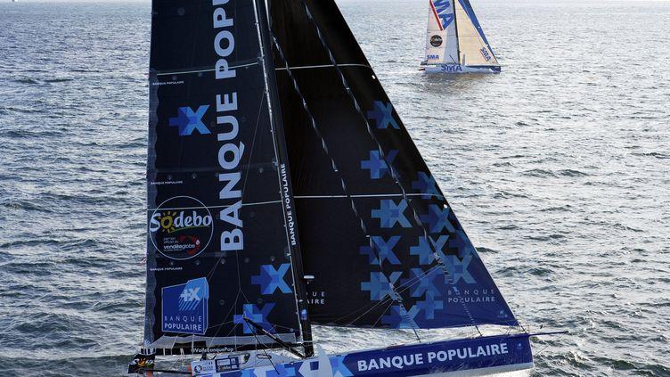 Le monocoque Banque Populaire d'Armel Le Cléac'h au départ du Vendée Globe depuis les Sables d'Olonne, le 6 novembre 2016. (MAXPPP)