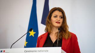 La ministre déléguée à la Citoyenneté, Marlène Schiappa, lors d'une conférence de presse au ministère de l'Intérieur, à Paris, le 27 mai 2021. (ANTOINE DE RAIGNIAC / HANS LUCAS / AFP)