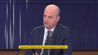 """Le ministre de l'Éducation nationale, Jean-Michel Blanquer était l'invité du """"8h30 franceinfo"""", le 19 janvier 2021. (FRANCEINFO / RADIOFRANCE)"""