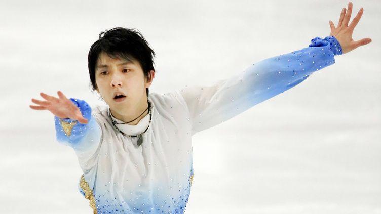 Le patineur japonais, Yuzuru Hanyu, lors de son programme court.