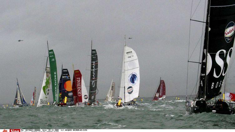 Les concurrents du Vendée Globe 2008, lors du départ, le 9 novembre 2008 aux Sables d'Olonne. (JACQUES BRINON/AP/SIPA / AP)