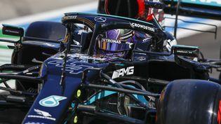 Lewis Hamilton (Mercedes) lors des essais libres 3 du Grand Prix de Hongrie, samedi 31 juillet 2021. (XAVI BONILLA / DPPI via AFP)