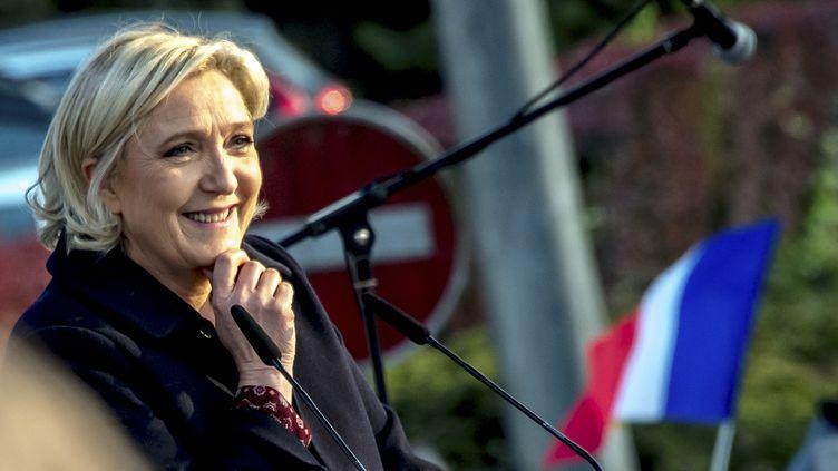 La candidate du FN Marine Le Pen, lors d'un discours à Ennemain (Somme), jeudi 4 mai 2017. (PHILIPPE HUGUEN / AFP)