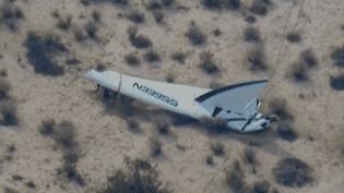 La vaisseau spatial SpaceShipTwo de Virgin Galactic s'est écrasé dans le désert californien du Mojave (Etats-Unis), vendredi 31 octobre. ( AP )