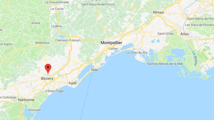 La commune de Béziers, dans l'Hérault (CAPTURE D'ECRAN GOOGLE MAPS)