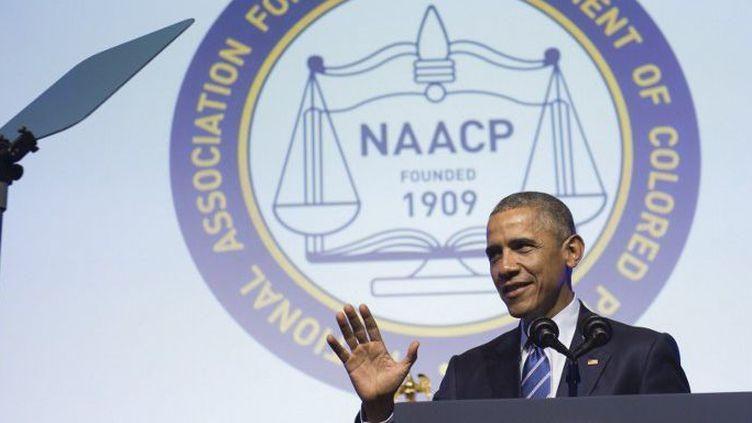 Le président américain Barack Obama prend la parole lors du 106e congrès national de la NAACP à Philadelphie, en Pennsylvanie, le 14 juillet 2015. (AFP PHOTO / SAUL LOEB)