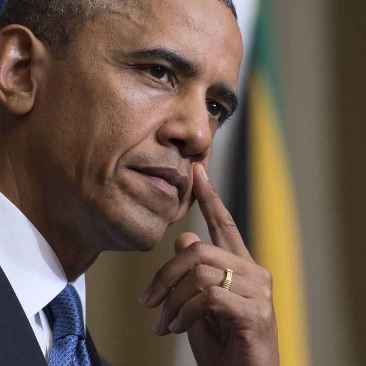 Barack Obama, le président des Etats-Unis, le 29 juin 2013 lors de sa visite officielle à Pretoria (Afrique du Sud). (JIM WATSON / AFP)