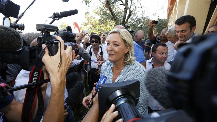 Marine Le Pen, présidente du Front national, le 7 septembre 2014 à Fréjus (Var). (VALERY HACHE / AFP)