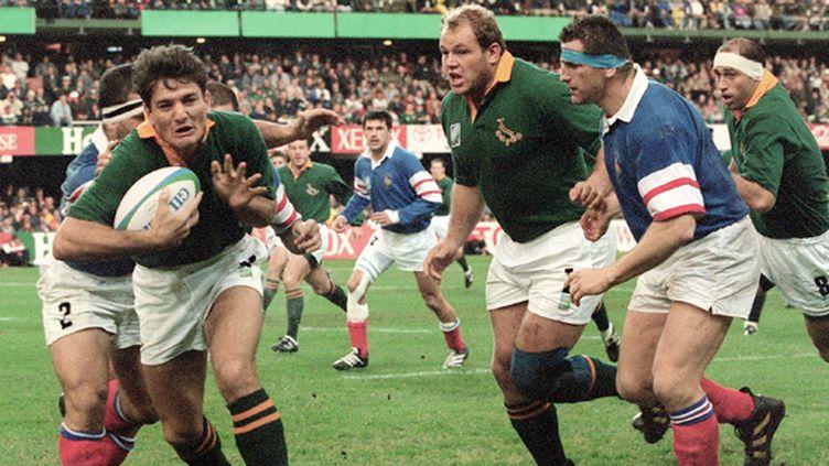 Joost van der Westhuizen avec les Springboks contre la France en 1995 (PHILIP LITTLETON / AFP)