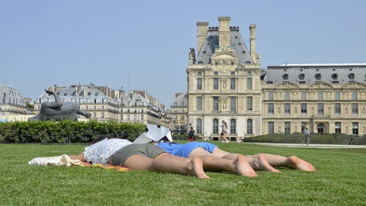 Deux Parisiens font une sieste sur une pelouse à Paris, le 11 septembre 2020. (- / AFP)