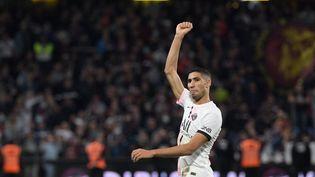 Achraf Hakimi a inscrit un doublé lors du match Metz-PSG, le 22 septembre 2021. (SEBASTIEN BOZON / AFP)
