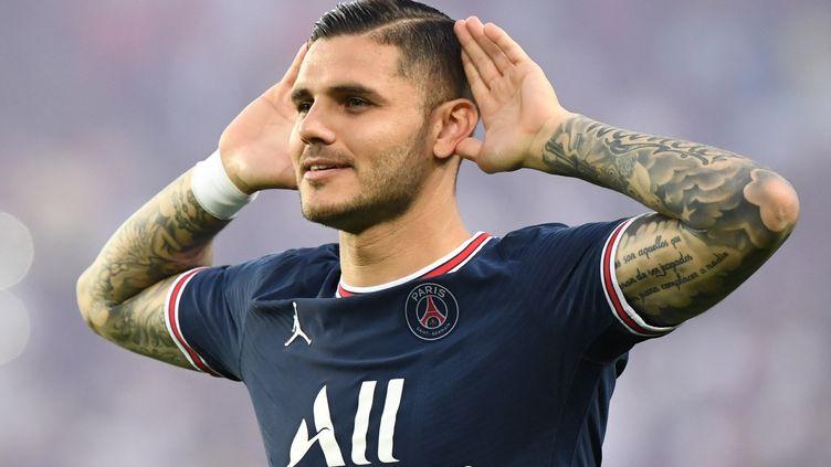 Mauro Icardi lors de la victoire du Paris Saint-Germain face à Strasbourg le 14 août 2021. (BERTRAND GUAY / AFP)