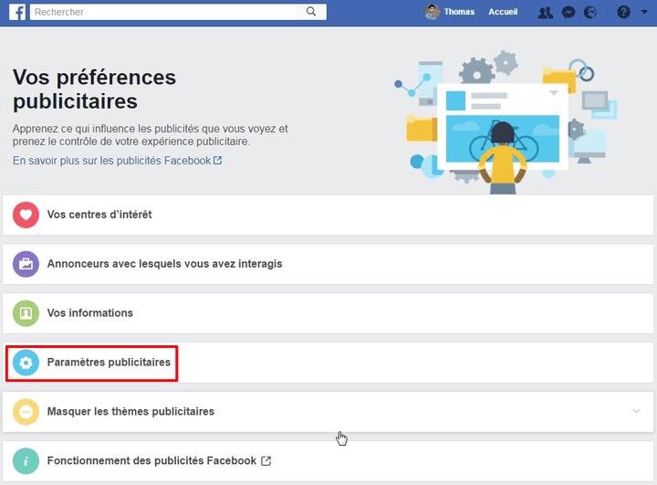 """Il faut ensuite sélectionner l'option """"Paramètres publicitaires"""". (FACEBOOK.COM)"""