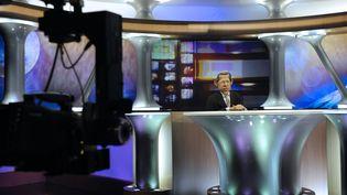 """La marionette de Patrick Poivre d'Arvor dans """"Les Guignols de l'Info"""" sur Canal +. (STEPHANE DE SAKUTIN / AFP)"""