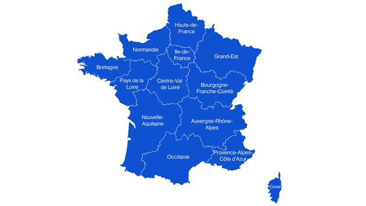 Les noms des nouvelles régions françaises. (NICOLAS ENAULT/FRANCEINFO)