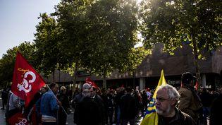 Des opposants à la loi Travail manifestent à Rennes (Ille-et-Vilaine), le 12 septembre 2017. (MARTIN BERTRAND / HANS LUCAS / AFP)