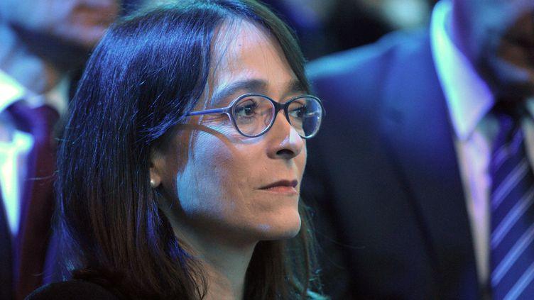 Delphine Ernotte Cunci lors d'une conférence de presse d'Orange à Paris, le 17 mars 2015. (ERIC PIERMONT / AFP)