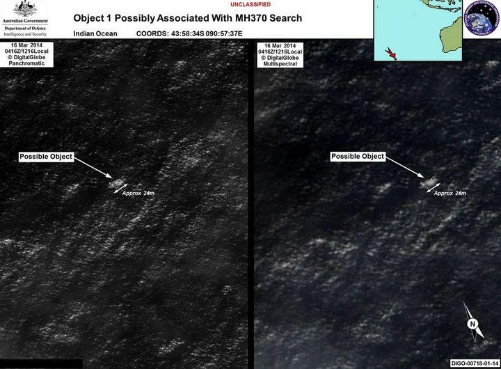 Les objets aperçus dans l'océan Indien, susceptibles d'être des débris de l'avion disparu de la Malaysia Airlines, jeudi 20 mars 2014. (AMSA.AU.GOV)