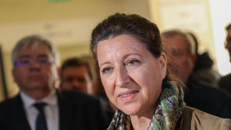 Agnès Buzyn à l'hôpital de Lens (Pas-de-Calais), alors qu'elle était encore ministre de la Santé, le 7 février 2020. (THIERRY THOREL / NURPHOTO / AFP)