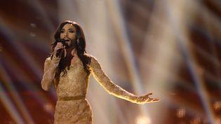 Conchita Wurst, lors de la finale de l'Eurovision, en 2014, à Copenhague (Danemark). (JONATHAN NACKSTRAND / AFP)