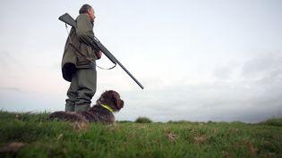 Un chasseur et son chien, en août 2010 dans la Manche. (KENZO TRIBOUILLARD / AFP)
