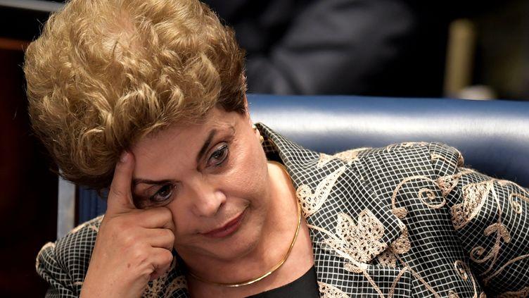 La présidente brésilienne Dilma Rousseff lors de son procès en destitution, le 29 août 2016à Brasilia. (EVARISTO SA / AFP)