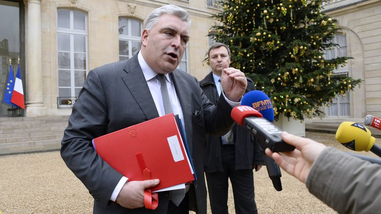 Le ministre délégué chargé des Transports,Frédéric Cuvillier, parle à la presse à l'Elysée, le 23 décembre 2013. (BERTRAND GUAY / AFP)