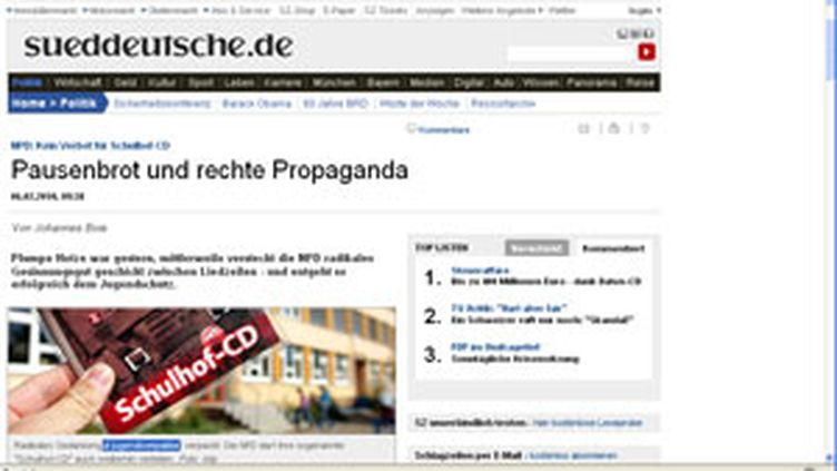 L'article du Suddeutsche Zeitung (AFP)