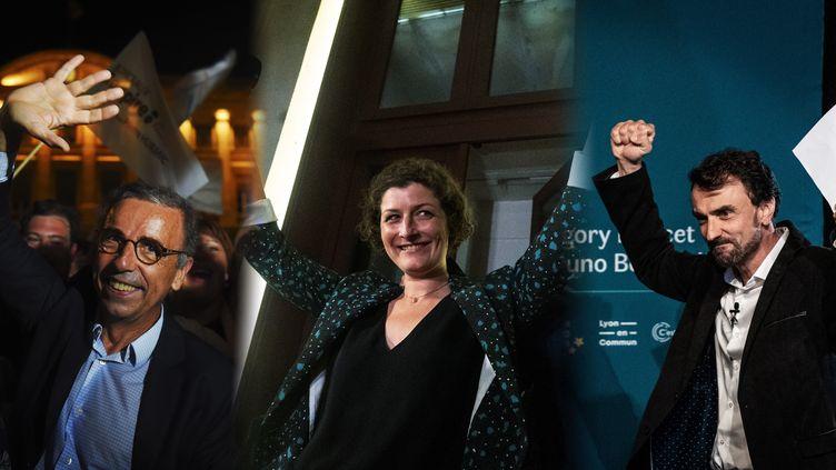 Pierre Hurmic, Jeanne Barseghian etGregory Doucet, candidats écolos victorieux aux élections municipales à Bordeaux, Strasbourg et Lyon (NICOLAS TUCAT - JEFF PACHOUD - PATRICK HERTZOG / AFP)
