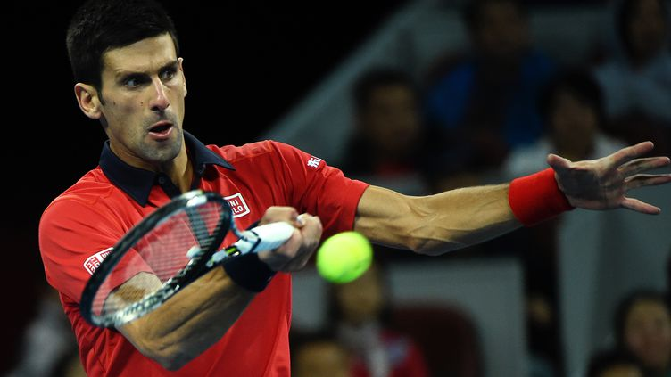 Novak Djokovic, lors de la finale à Pékin, face à Rafael Nadal. (WANG ZHAO / AFP)