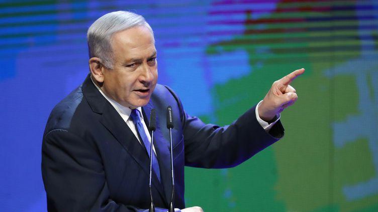 Benjamin Netanyahou à Tel Aviv, le 27 mars 2018. (JACK GUEZ / AFP)