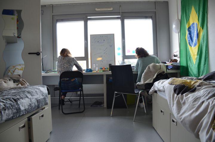Des étudiantes de l'Insa (Institut National des Sciences Appliquées) révisent à l'approche de leurs partiels, au sein de la résidence universitaire de l'Insa, le 21 janvier 2021. (CHARLES-EDOUARD AMA KOFFI / FRANCEINFO)