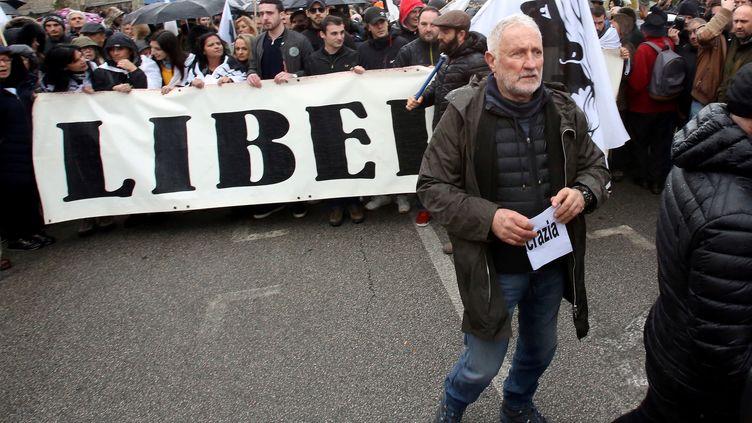 Charles Pieri lors d'une manifestation à Ajaccio le 3 février 2018. (PASCAL POCHARD-CASABIANCA / AFP)
