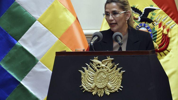 La présidente par intérim Jeanine Anez, le 28 janvier 2020 à La Paz (Bolivie). (AIZAR RALDES / AFP)